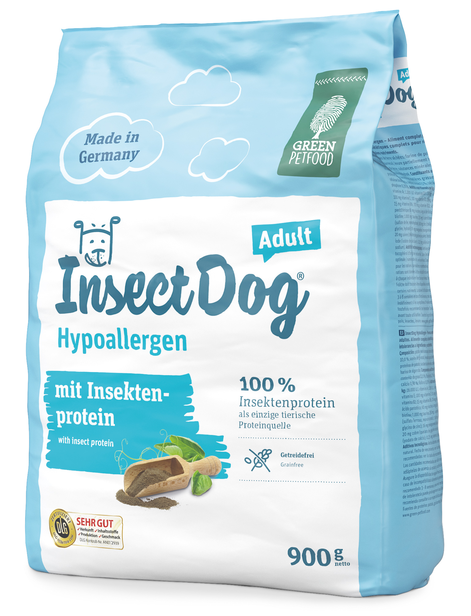 Green Petfood Insect Dog Adult Hypoallergen 900 g